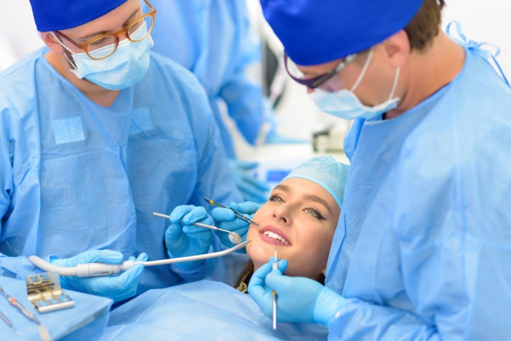 Woman receiving a restorative dentistry procedure