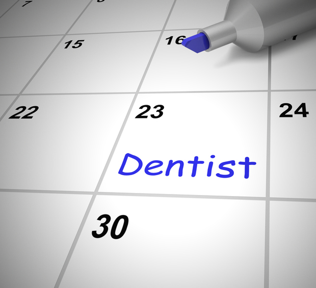dental appointment scheduled on a calendar